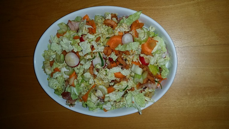 Recept: lunch salade met bacon en garnalen